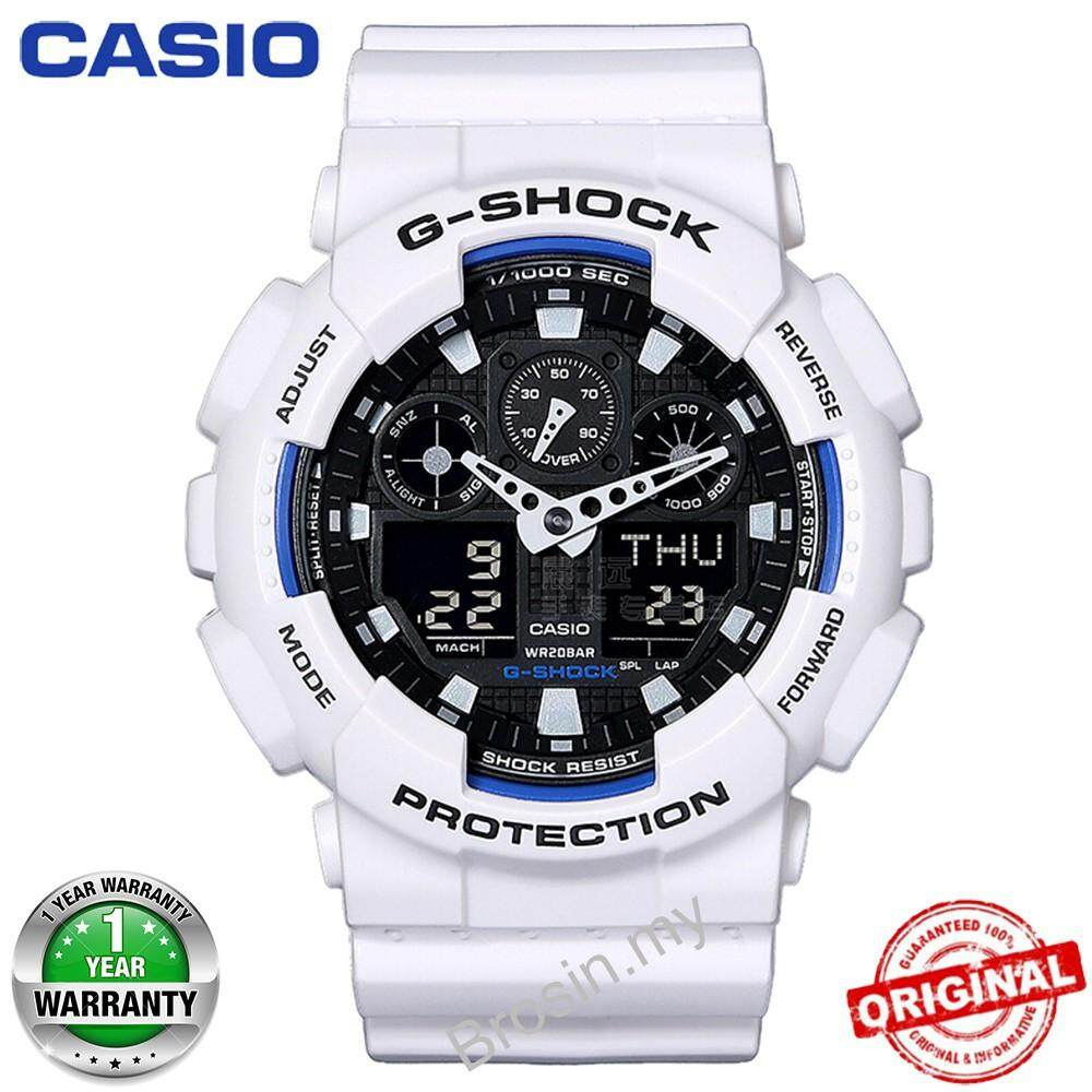 (Ready Stock) Original Casio G Shock_GA-100B-7A Men Sport Watch Duo W/Time 200M Water Resistant Shockproof and Waterproof World Time LED Auto Light Wist Sports Watch with 2 Year Warranty GA100/GA-100 Malaysia