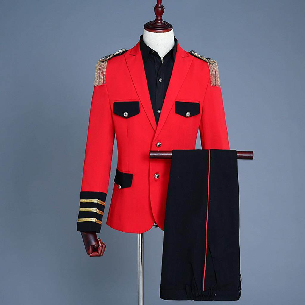 Bluelansie Mens European Style Court Costumes Military Uniforms Performances Suit