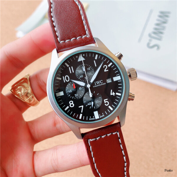 2020 New Original IWCs Mens Watch Full Function Quartz Fashion Wild Popular Leather Watch Malaysia