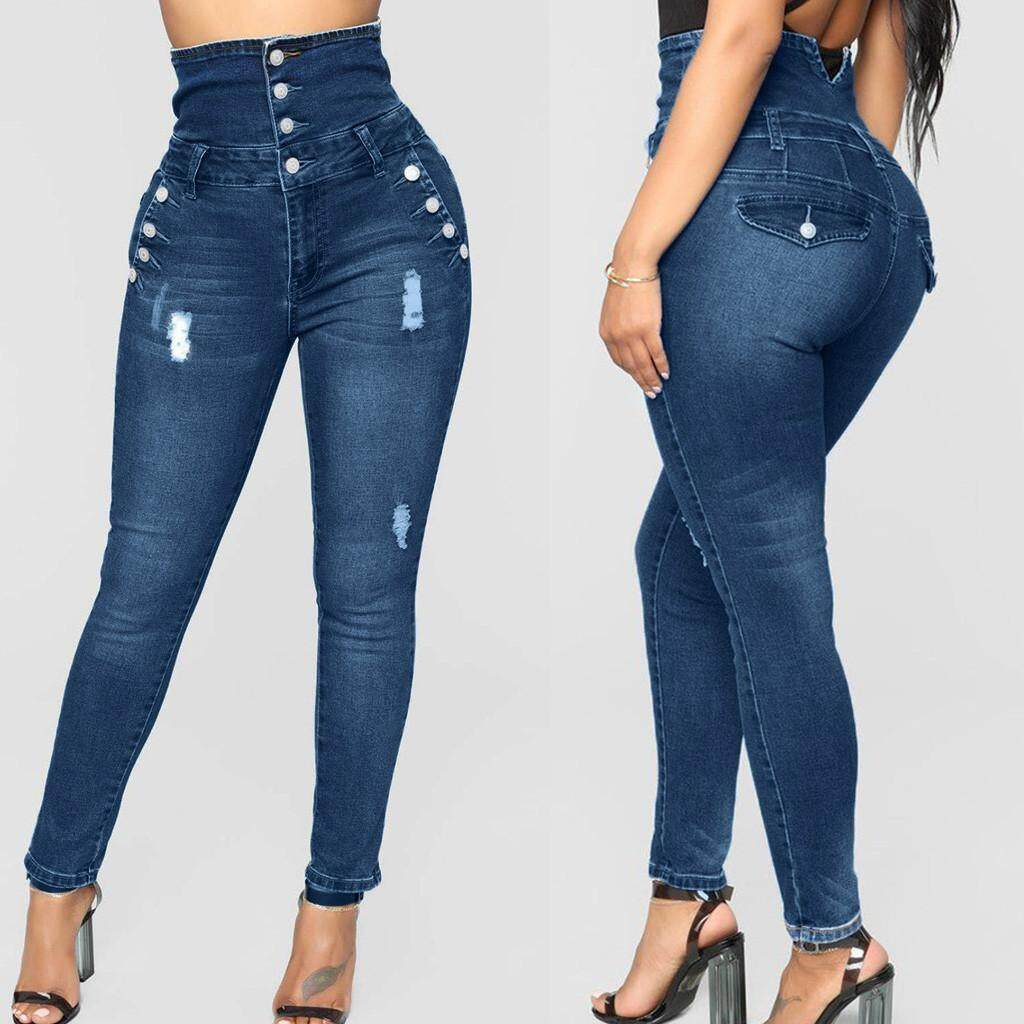 405abb7347 Qusaystore Women Plus Size Four-breasted Ripped Stretch Slim Denim Skinny High  Waist Jeans