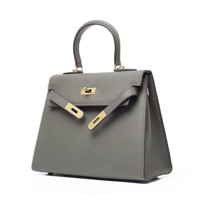 Litchi Grain Suede Leather Kelly Bag Leather Handbags Shoulder Diagonal Lock Buckle Bag