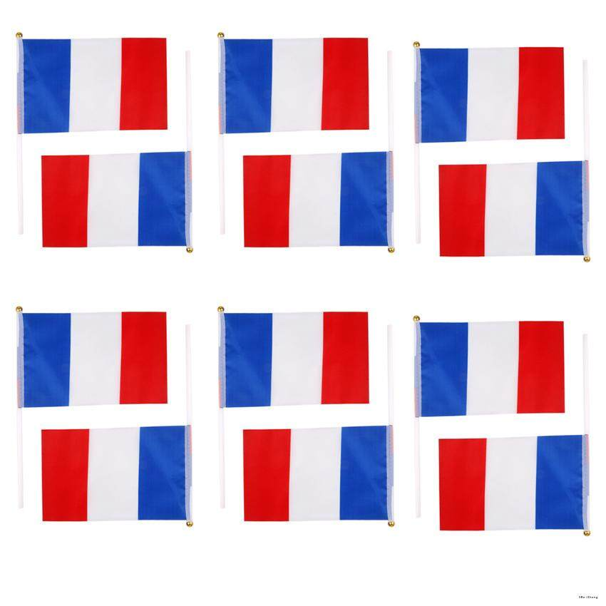 EAU 12PCS France Flag French National Flags Hand Waving Flag With Poles