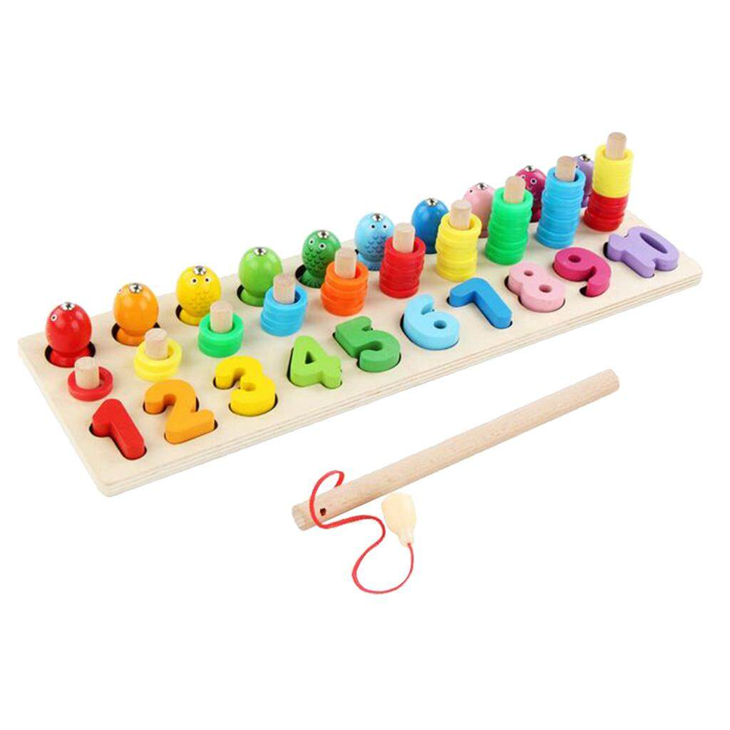 BolehDeals Magnetic Fishing Games Wooden Toy Set 14 Fishes 1 Fishing Pole for Kids