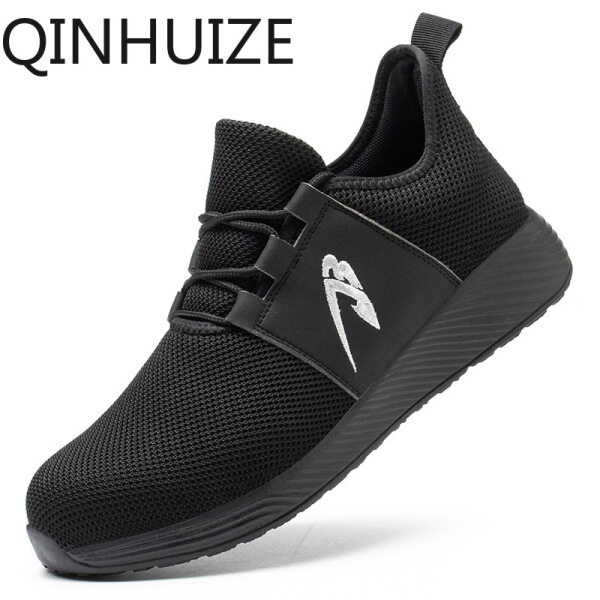 QINHUIZE Fashionable lightweight mesh safety shoes anti-smashing safety shoes construction site steel toe cap puncture-proof work shoes men