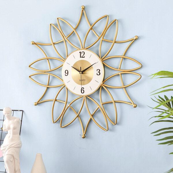QUKAU Nordic Golden Iron Wall Clock Creative Flowers Fashion Clocks Wall Clocks Clothing Store Barber Shop