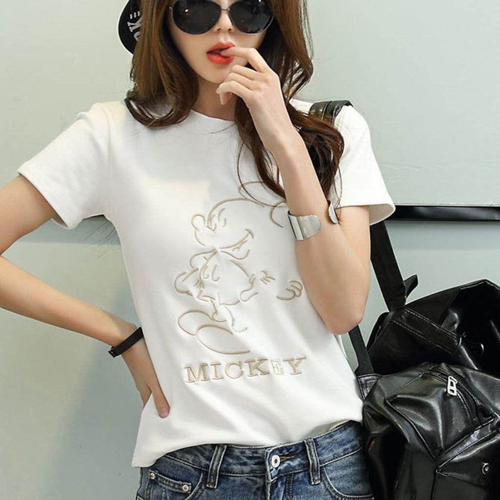 35a80f5b Fashion Mickey Mouse Women Short Sleeve Cute Mouse Design Simple T Shirt