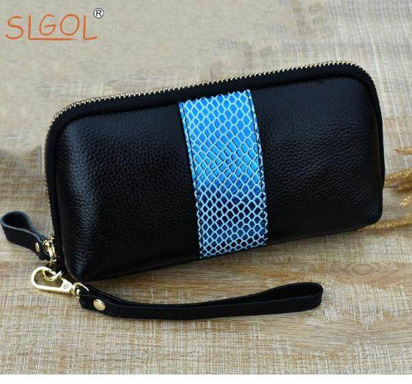 Women Leather Wallet Long Purse Card Phone Holder Hit Color Clutch by SLGOL-direct