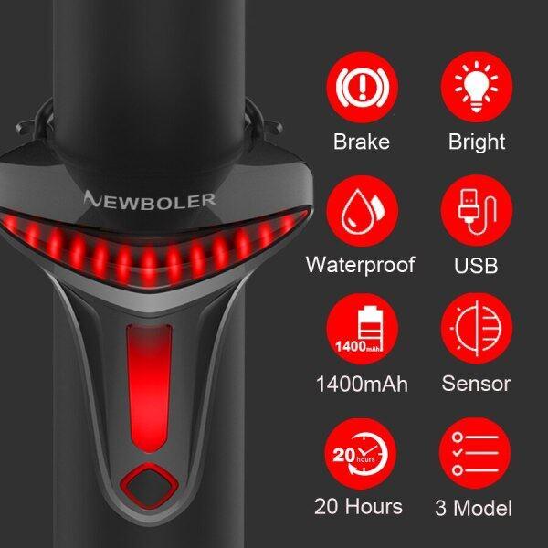 Đèn Hậu Xe Đạp Phanh Cảm Biến Đèn Xe Đạp USB Dừng Sao Tự Động Đèn LED Đèn Hậu Xe Đạp Phụ Kiện Xe Đạp