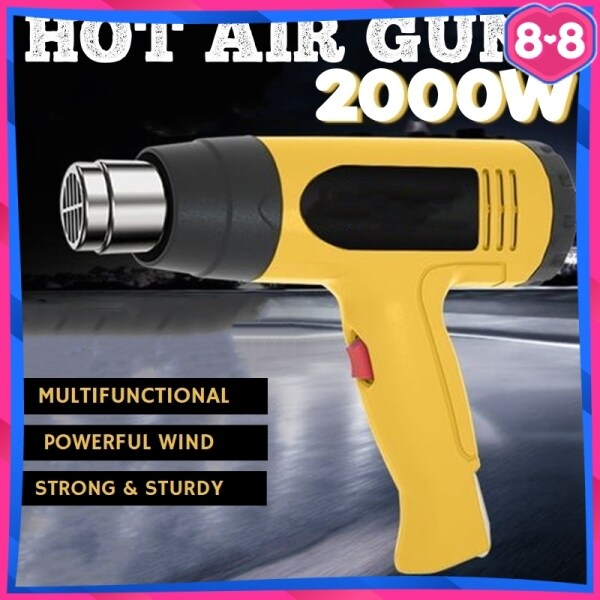 Hot Air Heat Gun 2000W Blower Shrink Gun Adjustable Heavy Duty Type Industrial Use Multipurpose Professional Tools