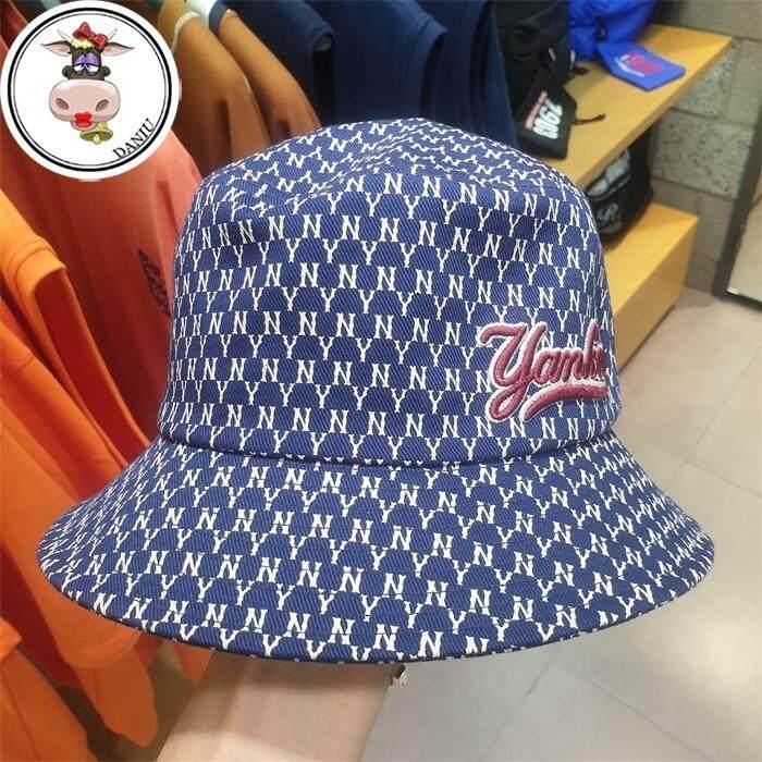 เกาหลีของแท้ MLB ใหม่ Yankee ผู้ชายและผู้หญิง Fisherman หมวก Sunbonnet หมวกอ่างล้างหน้า