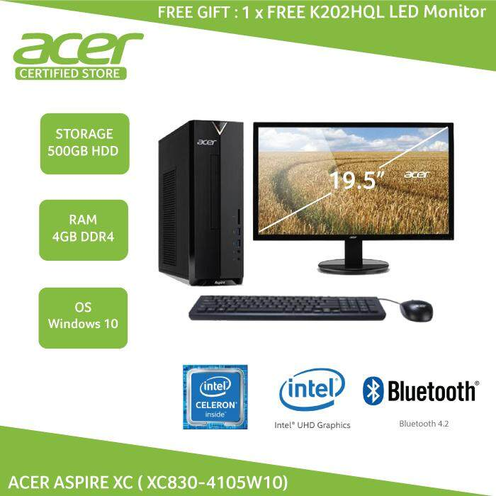 Amazing Acer Aspire Xc Desktop Xc830 4105W10 Celeron 4Gb 500Gb Intel Hd W10 Free K202Hql Led Monitor Download Free Architecture Designs Grimeyleaguecom