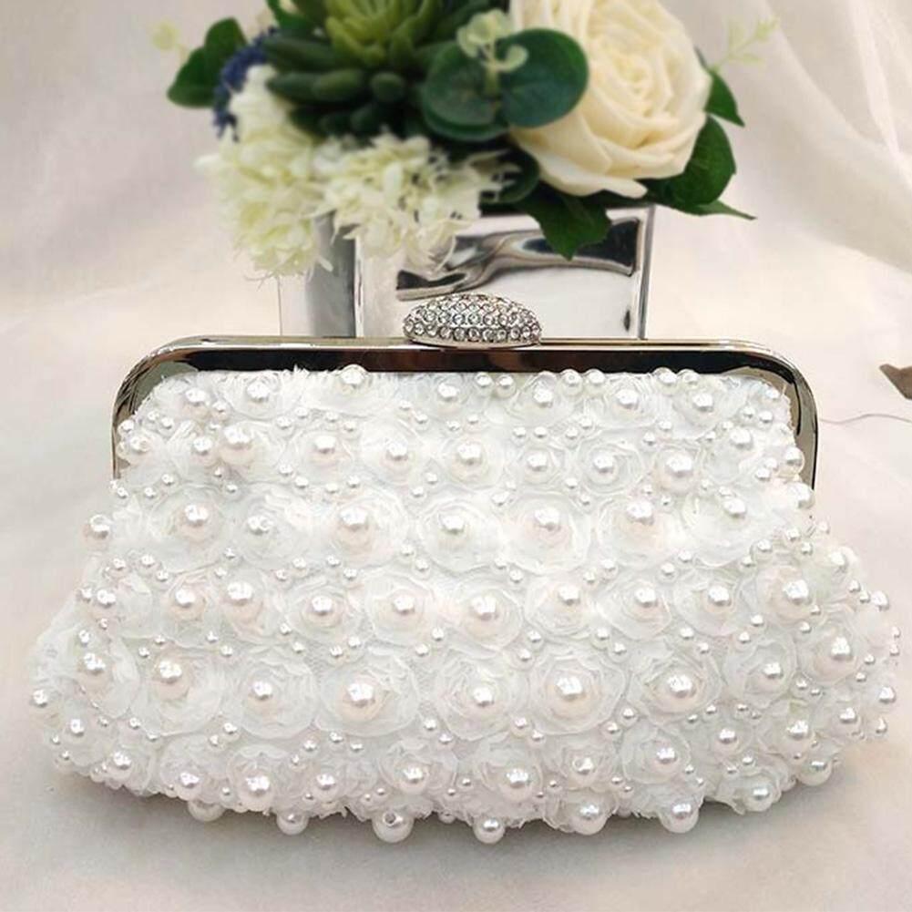 Luxury Evening Party Lace Flower Wedding Elegant Artificial Pearl Large Capacity Women Handbag
