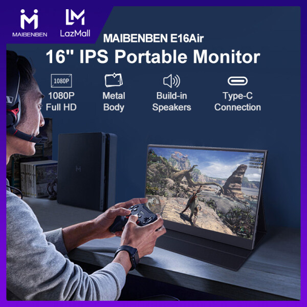 [Local Warranty] MAIBENBEN Portable Monitors 16 Inch 60Hz Full HD Build-in Speakers HDMI-Compatible Type-C Gaming Monitor Wireless Mobile Phone VESA Standard For PS4/PS3 Switch Xbox360 Free Shipping E16Air