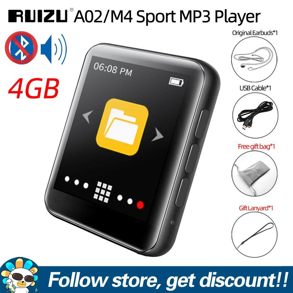 Original RUIZU A02 M4 Full Touch Screen 1.8 inches Bluetooth V4.0 MP4 MP3 Player 4GB 8GB 16GB Music HiFi Player Portable Audio Walkman with Built-in Speaker Support FM Radio Recording E-book Clock Pedometer Video Player