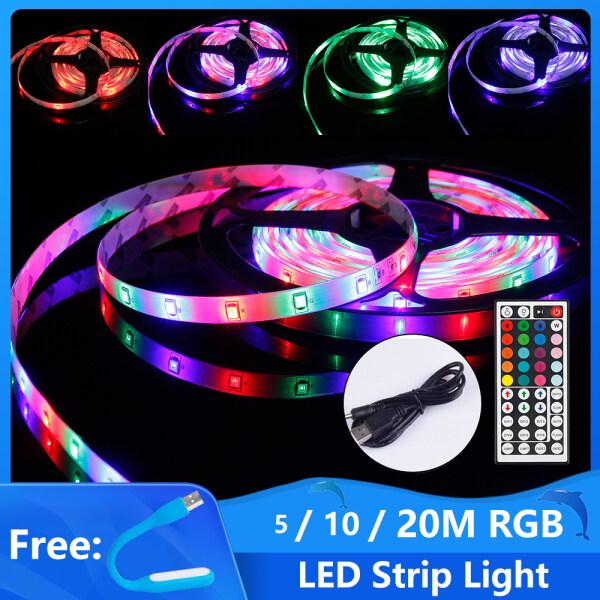 Bảng giá Đèn LED thanh đèn thanh linh hoạt 5M 10m 15m 20m đèn giao tiếp USB SMD3528 10mm ánh sáng dịu đổi màu RGB với bộ điều khiển hồng ngoại 44 phím TV máy tính đèn trang trí phòng ô tô đèn trang trí phòng trẻ em