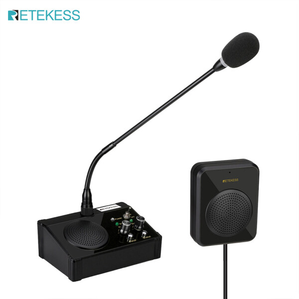 Retekess TW106 5W Dual Way Window Counter Intercom Dual-way Counter Interphone System for Bank Office Store Hospital