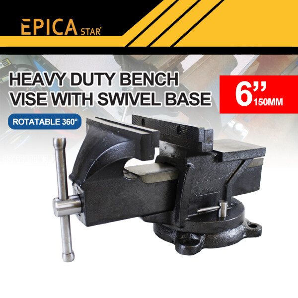 Swivel Bench Vice Vise Epica Star 6 Inches Heavy Duty Bench Vice Clamp Square Anvil with 360 Degree Rotatable Swivel