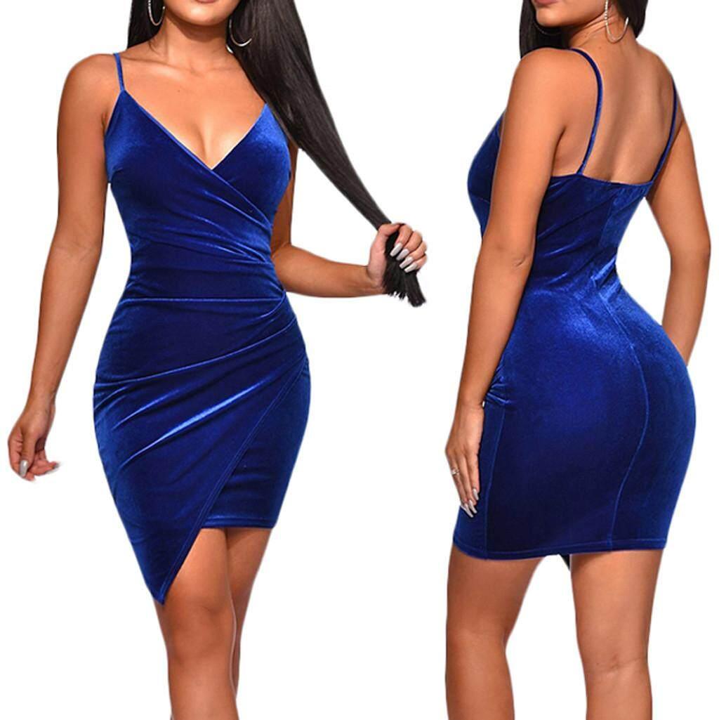 8ddeab7b9da Aynshop Women Sling Sheath Dress Sleeveless V-neck Velvet Irregular Dress