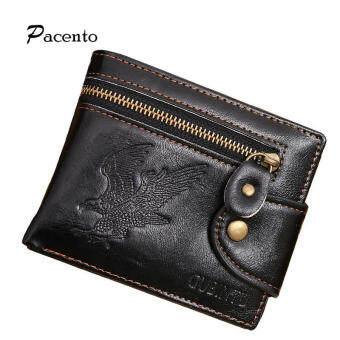Pacento ใหม่เย็นผู้ชายนกฮูกกระเป๋าสตางค์หนังสีดำบุรุษกระเป๋าสตางค์ซิปสตางค์กระเป๋าสตางค์ชายกระเป๋าด้วยเหรียญกระเป๋าหรูหรา H ASP กระเป๋า