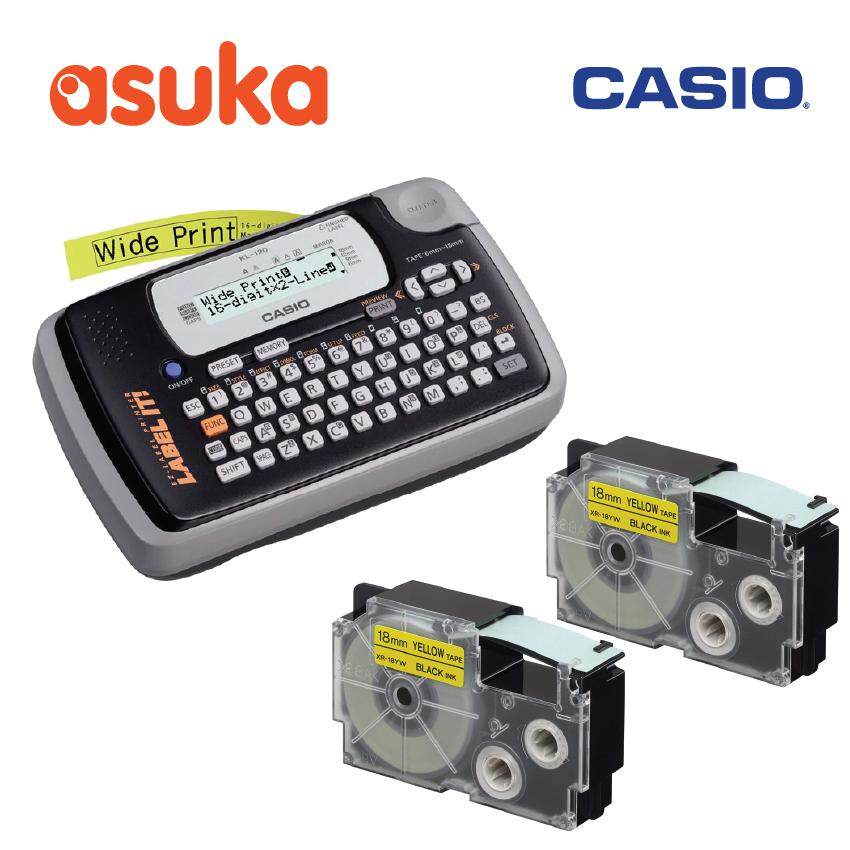 Casio KL-120 + 2 unit XR-18YW1 (18mm Black on Yellow Tape