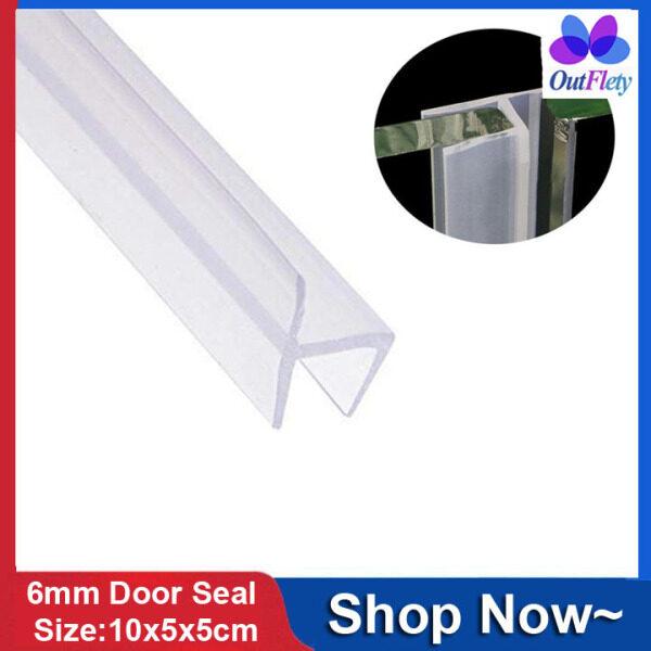 OutFlety 1M Glass Shower Door Seal Strip,Frameless Weatherproof Weather Stripping Seal Door Sweep Flexible Silicone Door Draft Stopper Noise Blocker For Glass Windows