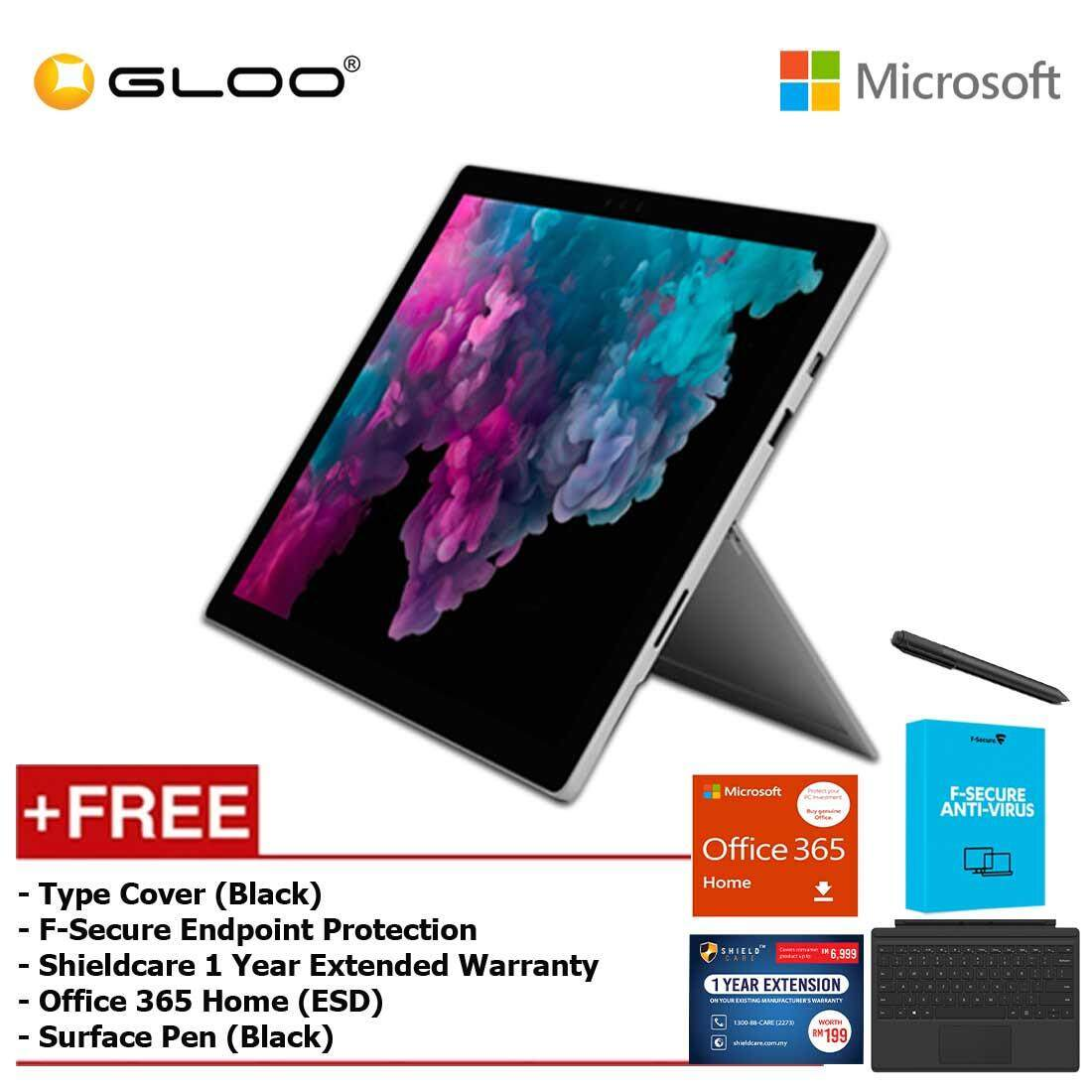 Microsoft Surface Pro 6 Core i5/8GB RAM - 256GB + Type Cover Black + Office 365 Home + Pen Black + Fsecure + Shieldcare 1 Year Extended Warranty Malaysia