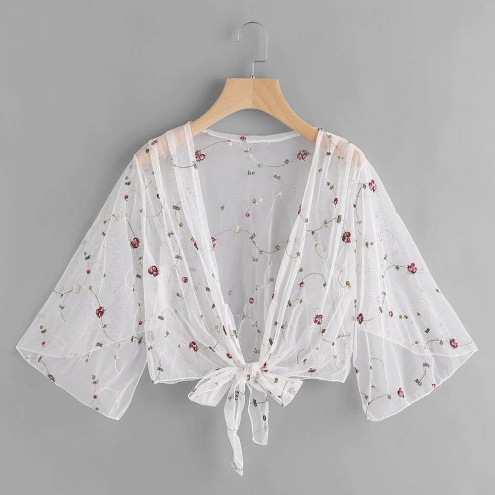 Friendly Beach Lace Crochet Long Cardigan For Women Lady Sexy Patchwork Pure Color Summer Beach Long Cape Bikini Bathing Cover Up Blouses & Shirts