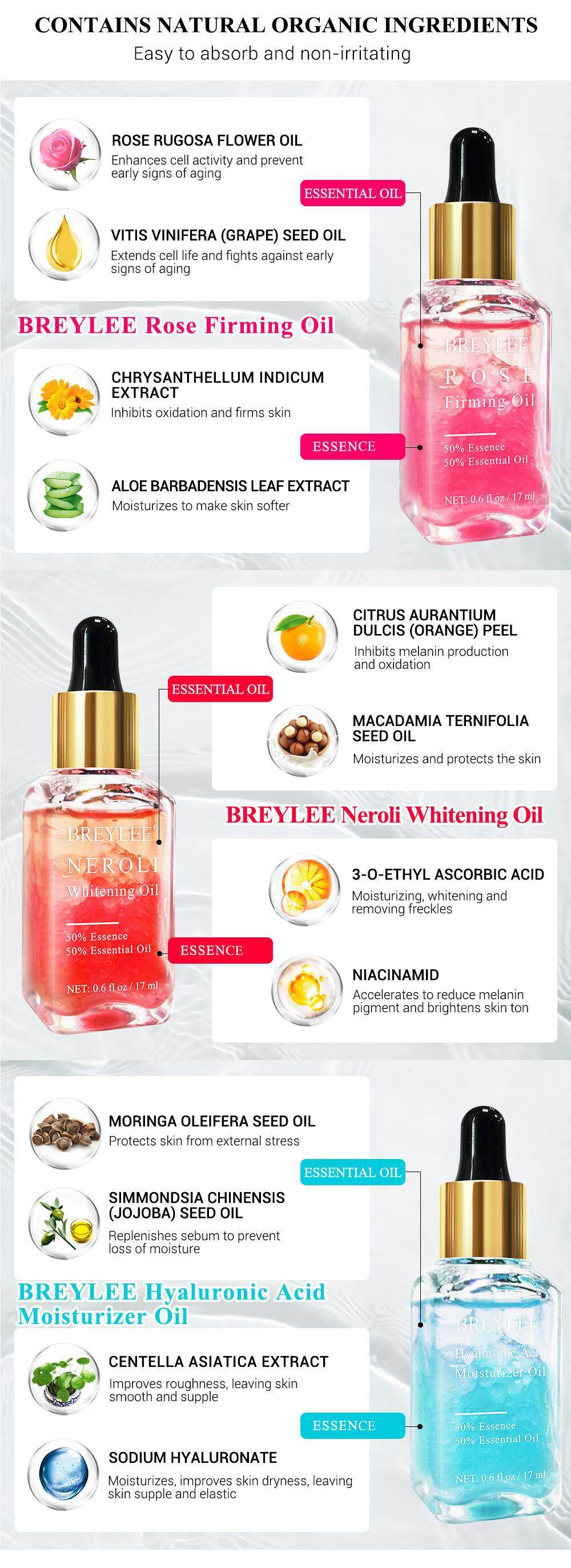 【Buy 1 get 1 FREE】BREYLEE Moisturizing Hyaluronic Acid Face Serum Essential  Oil Relieve Skin Dryness and Roughness Elastic Skin Care 17ML