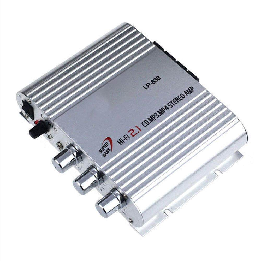12 V 300 W Amplifier Booster Radio MP3 Stereo untuk Subwoofer Mobil Rumah  HI FI 2 1