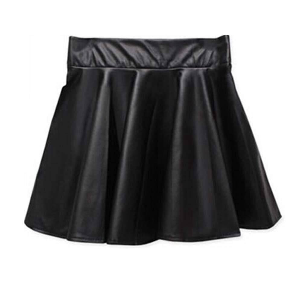 Chân váy mini da PU cạp cao cho nữ, váy xếp ly ngắn gợi cảm màu trơn
