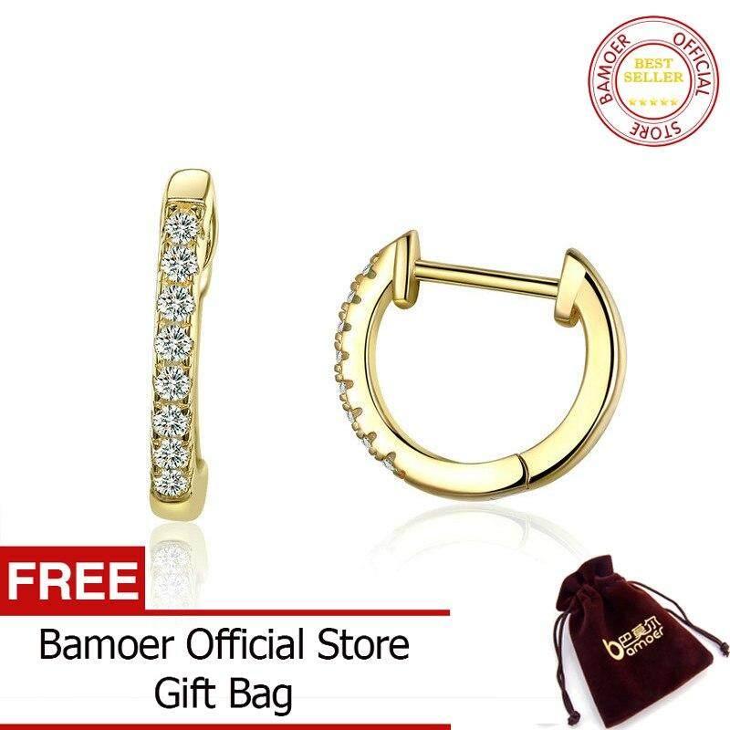 330881b99 BAMOER Genuine 925 Sterling Silver Round Circle Hoop Earrings for Women  Gold Color Earrings Sterling Silver