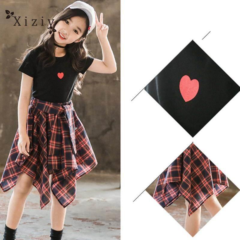 Giá bán Xiziy 2 cái/bộ Bé Gái Áo Thun + Váy Nữ Tay Ngắn Áo + Váy Kẻ Sọc Phù Hợp Với Trẻ Em Bộ Quần Áo