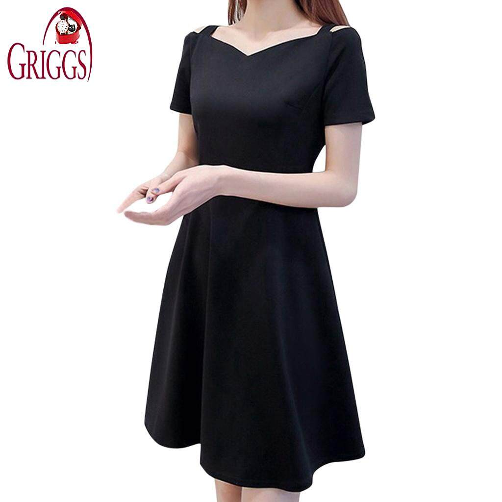 b747f29ae83 Griggsshop Fashion Women Pure Color Off Shoulder Short Sleeve Knee Length  Camisole Dress