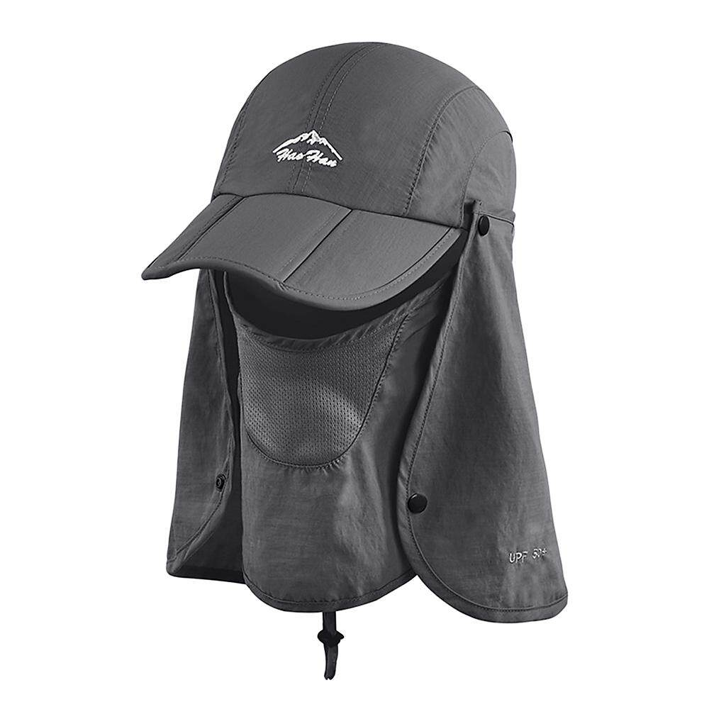 Outdoor Sun Shield Hat UPF 50+ Sun Cap Removable Neck Face Flap for Camping Gardening Cycling Hiking