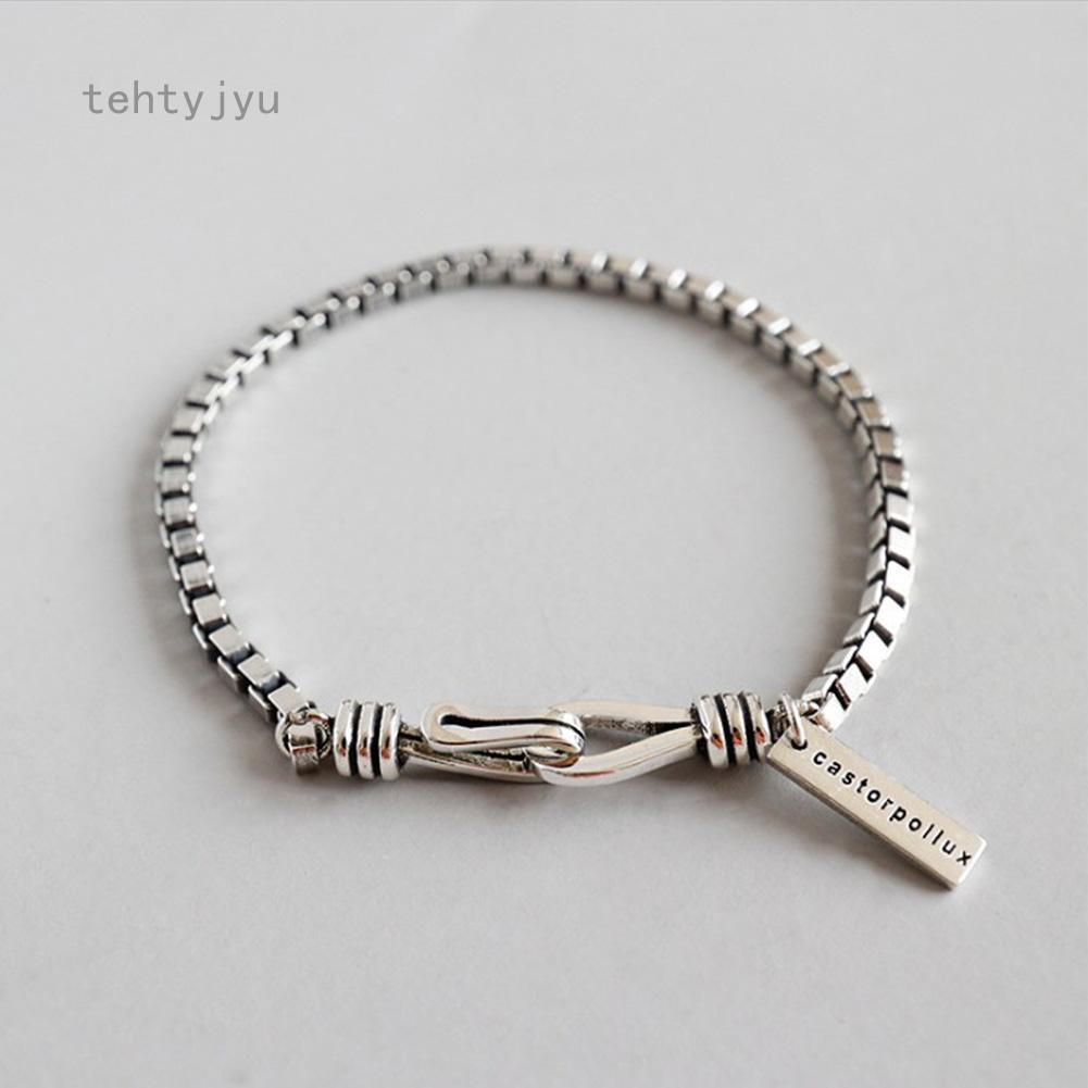 Vòng tay hình học cổ điển bằng bạc 925, phong cách Hàn Quốc cho nữ