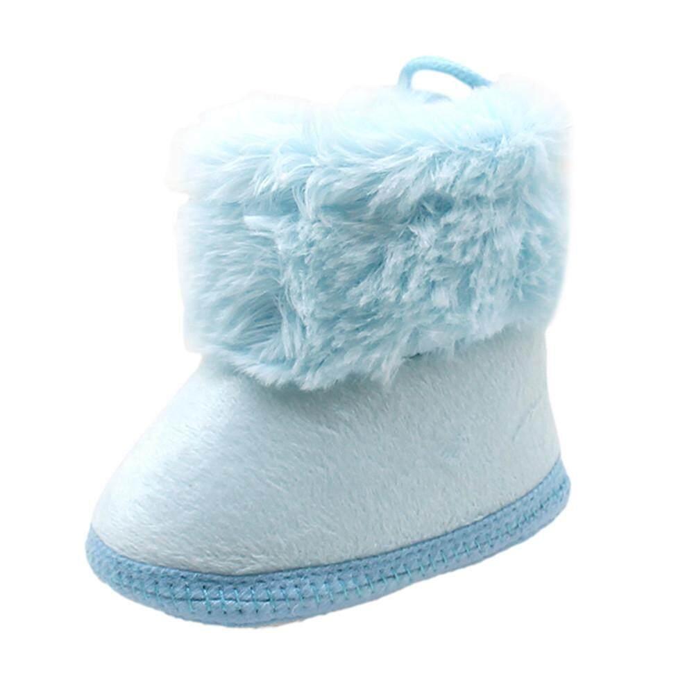 ★balala เด็กวัยหัดเดินทารกแรกเกิด Soild ขนสัตว์พื้นรองเท้าบู้ทนุ่มหิมะ Prewalker รองเท้า.