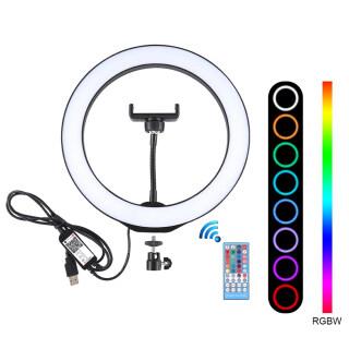 PULUZ Đèn Led Tự Sướng Điều Chỉnh Độ Sáng RGBW 10.2 , Đèn Chụp Ảnh Với Kẹp Điện Thoại Di Động & Điều Khiển Từ Xa Hỗ Trợ Điện Thoại Thông Minh Ứng Dụng Hoạt Động thumbnail