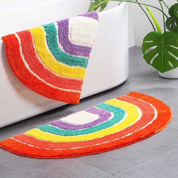 Non-Slip Area Rugs Rainbow Pattern Semicircle Floor Mat for Living Room Bedroom Dinning Kitchen Carpets Doormats, 19.6×31.4 inches