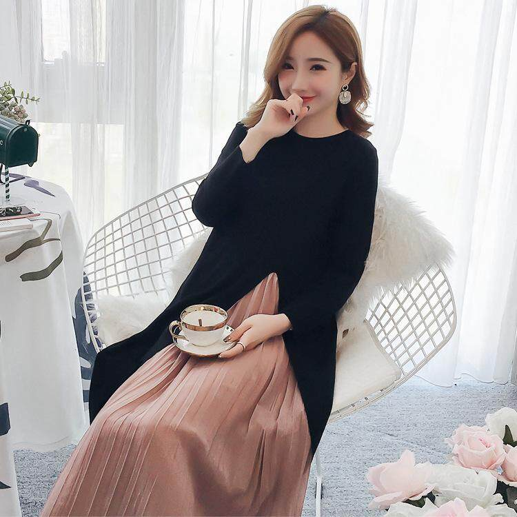 73cfb1202c8 Maternity Wear Fashion Pleated Chiffon Stitching Loose Long Large Size Maternity  Dress Women Girls Dress
