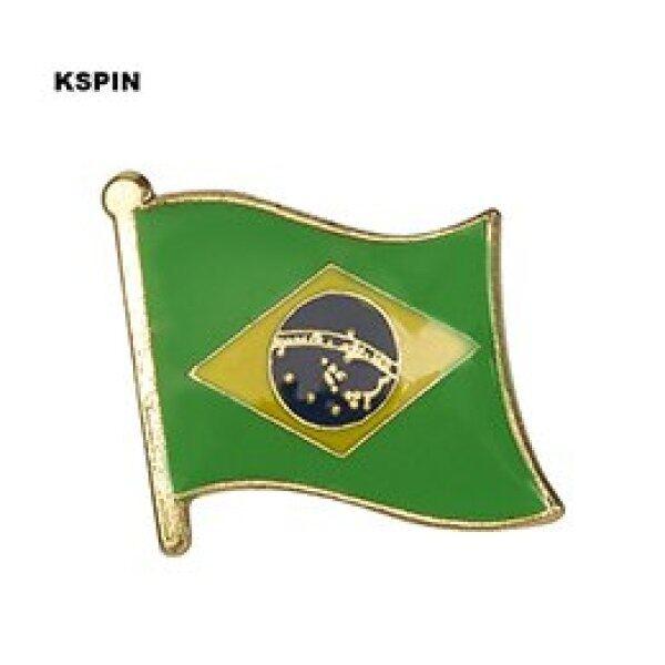 Brasil Quốc Kỳ Kim Loại Pin Huy Hiệu Trang Trí Thổ Cẩm Chân Cho Quần Áo Ks-0023