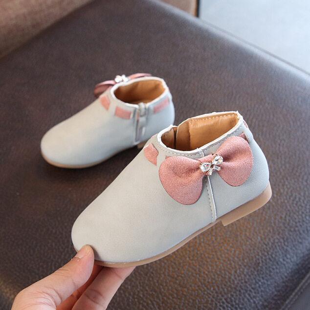 Mùa Thu Và Mùa Đông Trẻ Em Mới Hàn Quốc Cho Nữ Thắt Nơ Trung Và Nhỏ Trẻ Em Giày Chống Trượt Giày Dép Trẻ Em Khóa Kéo Bên Hông giá rẻ