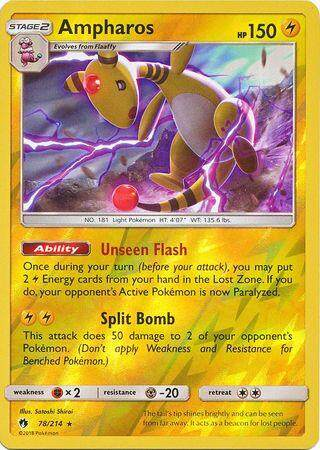 Pokemon SM8 Lost Thunder Ampharos - 78/214 - Holo Rare Reverse Holo
