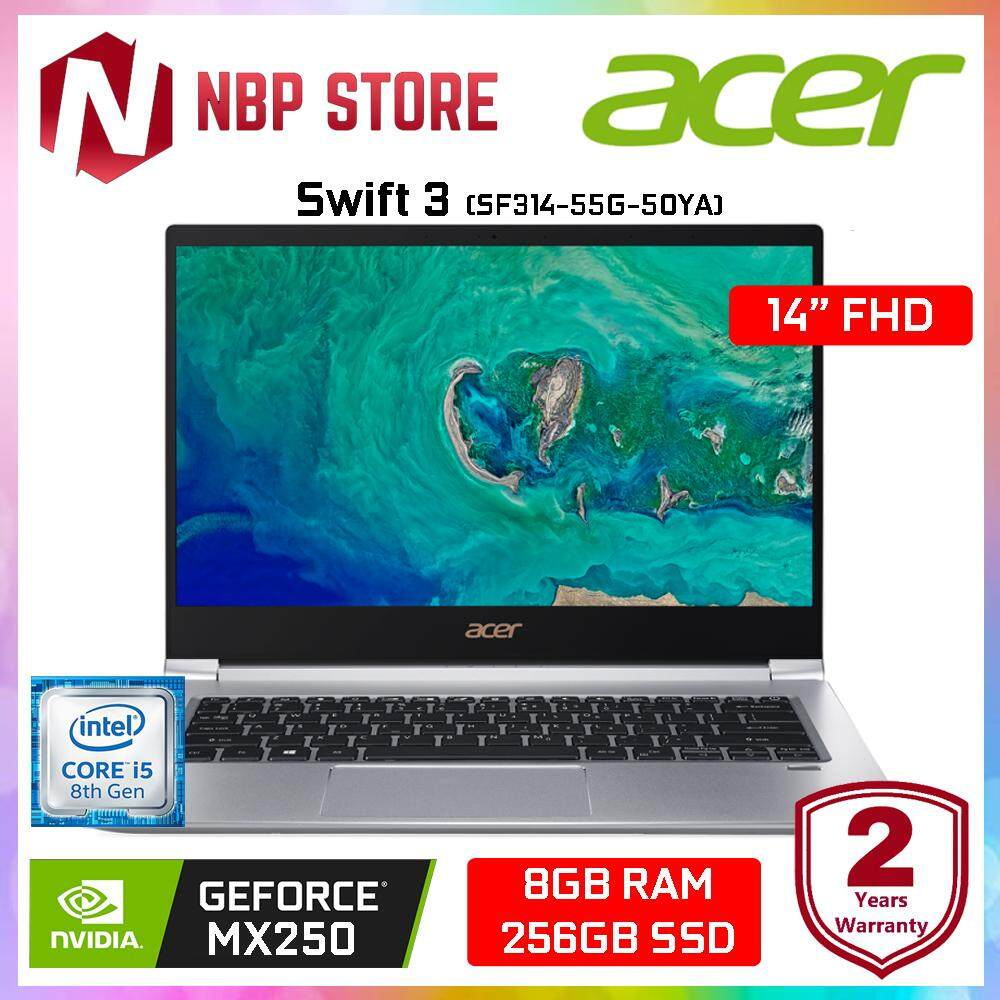 Acer Swift 3 SF314-55G-50YA 14  FHD IPS Laptop Sparkly Silver ( i5-8265U, 8GB, 256GB, MX250 2GB, W10 ) Malaysia