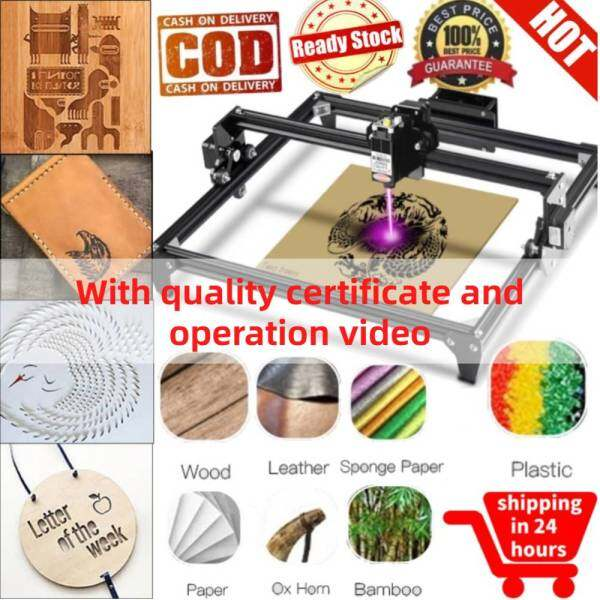 [salmopho+เครื่องแกะสลักเลเซอร์] CNC CNC Laser Engraving Machine Mini DIY Desktop Engraver 30x40cm with Goggles 2500MW AC 110V-240V Black Singapore