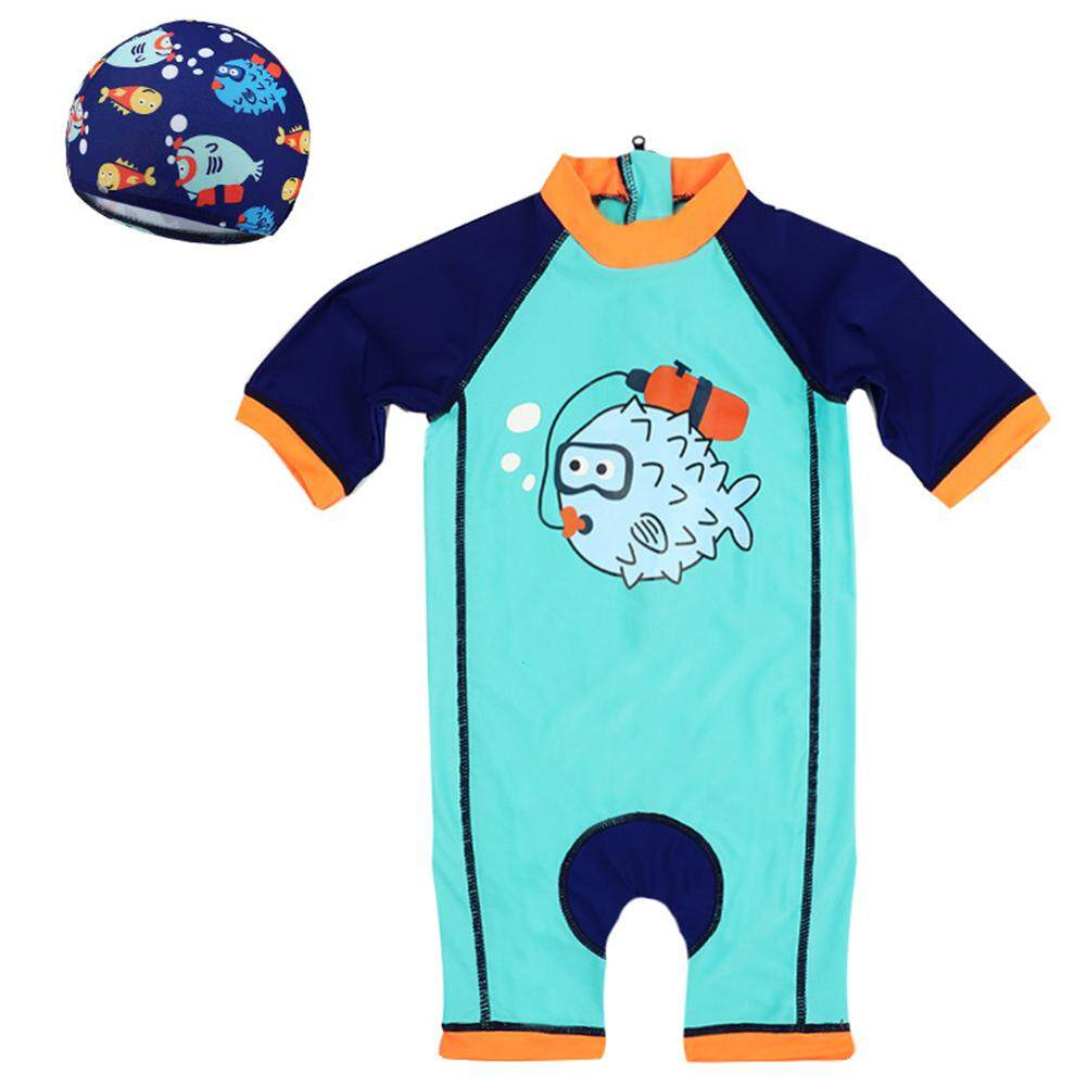 Childrens Swimsuit Boys Sunscreen Jumpsuit Boy Baby Surf Swimsuit Warm Spa Swimwear By Rui Green.
