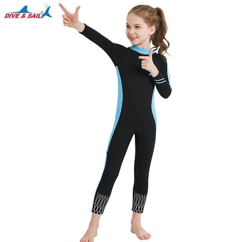 DIVE SAIL Kids 2.5mm Neoprene Swimsuit Girl Wetsuits Snorkeling Surfing  Rash Guards Children s Swimwear Long Sleeve 18a1d76dd