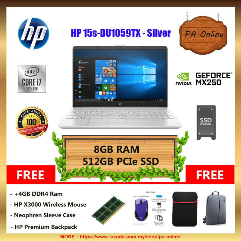 HP 15S-DU1059TX (8GB/16GB RAM)- Intel Core i7-10510u /8GB or 16GB Ram /512GB PCIe NVMe M.2 SSD /15.6 FHD LED /4GB NVD MX250 /Win 10 /2 Years Malaysia