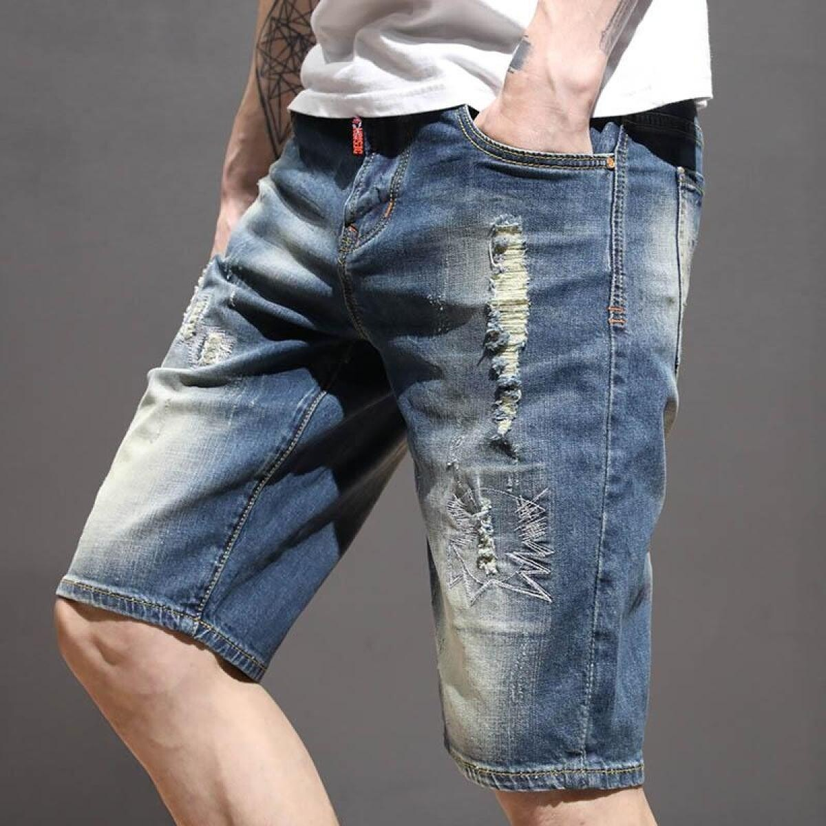 hot sales new design 100% high quality Men's Stretch Ripped Jeans Shorts Fashion Casual Slim Fit Elastic ...