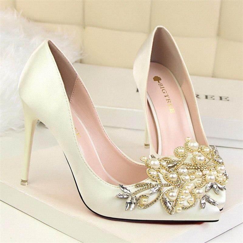 d5c1cc726 elegant designer shoes women luxury 2019 brand rhinestone pearl shoes peep  toe high heels wedding shoes