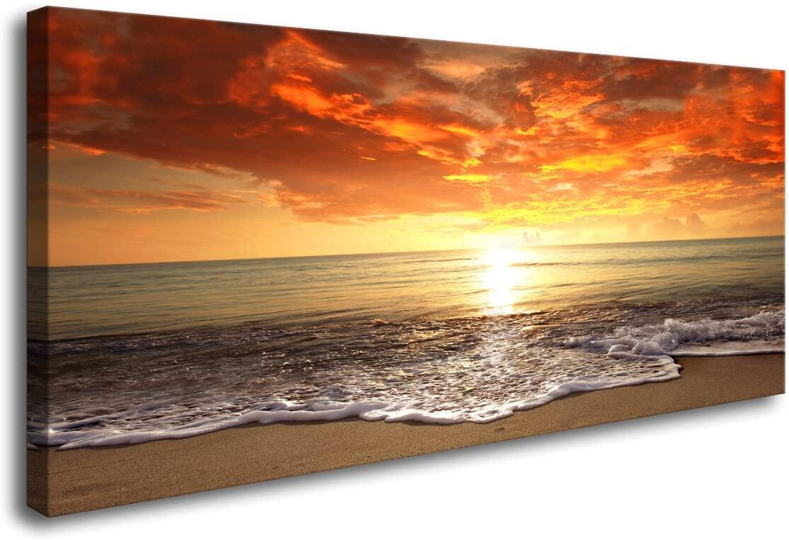 Baisuart S Canvas Prints Wall Art Sunset Ocean Beach Pictures Photo Paintings For Living Room Bedroom Home Decorations Modern Stretched And Framed Seascape Waves Landscape Giclee Artwor Lazada Ph